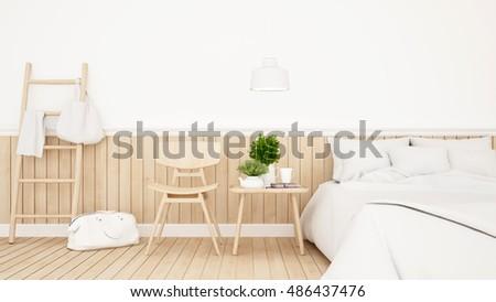 Shutterstock White bedroom or guestroom of hotel minimal design - 3d Rendering