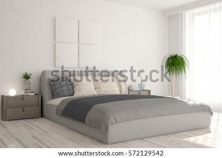White bedroom. Scandinavian interior design. 3D illustration