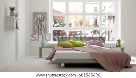 White bedroom with winter landscape in window. Scandinavian interior design. 3D illustration #601565696