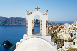 White belfry in the Santorini Island, Cyclades in Greece.
