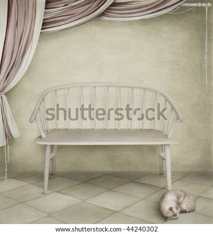 White bench and sleeping cat
