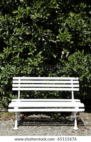 White bench made of wood, useful for concepts