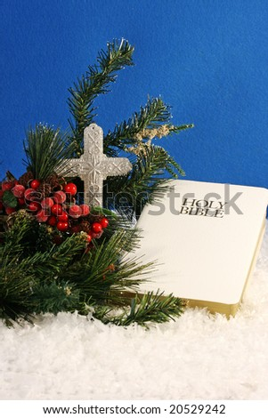 white bible, cross, berries, evergreen branches, snow, and a blue felt background, with room for copy