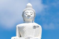 White Big Buddha Statue with Blue Sky Background, Iconic Landmark and Tourist Destination of Phuket, Thailand