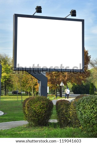 White billboard at the park