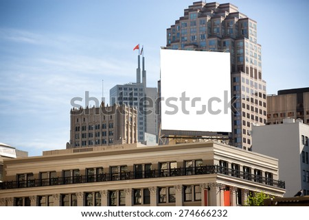 White billboard in the city on the top of the building. Stock fotó ©