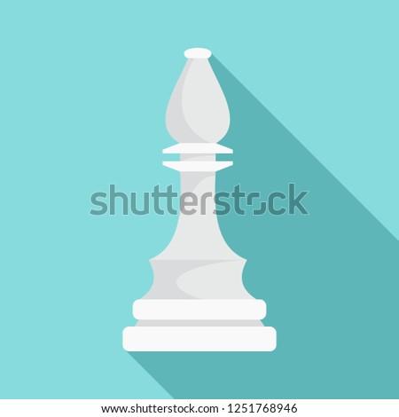 White bishop piece icon. Flat illustration of white bishop piece icon for web design