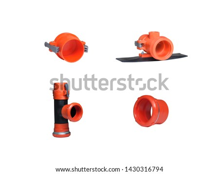 White,Black and Brown Color Pvc Plastic Pipe parts,pipe equipment and pipe fittings isolated on white background #1430316794