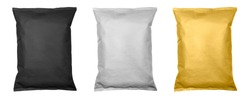 White, black and gold pillow bag of chips , snacks or candys top view. Isolated on a white background.