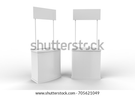 White blank advertising POS POI PVC Promotion counter booth, Retail Trade Stand Isolated on the white background. Mock Up Template For Your Design. 3D illustration