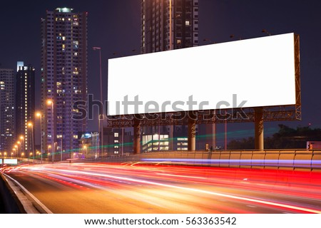 White Blank billboard on light trails, street, city and urban in the dusk or night- can advertisement for display or montage product or business. #563363542