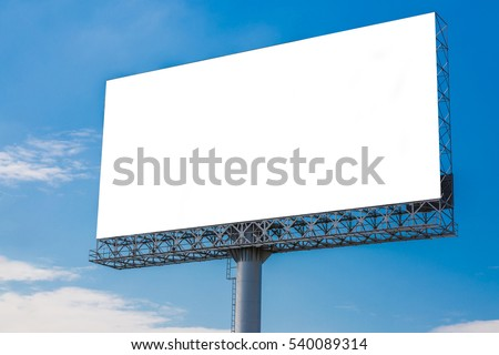 White blank billboard with clouds and blue sky - can advertisement for display or montage product and business #540089314