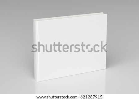White blank book textured cover with landscape orientation standing isolated on white background with clipping path. 3d render