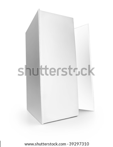 White blank box on white background, Clipping path included.