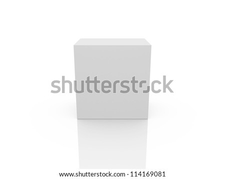 White, blank box template, isolated on white background.