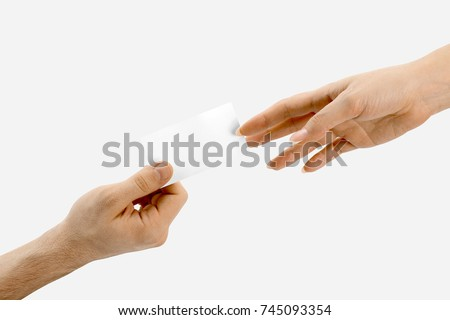 White blank Bussines cards in hands, on white background. in Womens hands, in mens hands. With shadow. Top, frot, side view. photo shoots. man woman company b-cards Foto stock ©