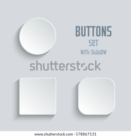 white blank button set. Round square rounded buttons #578867131