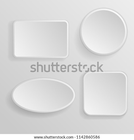 White blank buttons. 3d icons. Illustration. Raster version #1142860586