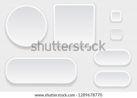 White blank buttons. Set of interface elements. 3d illustration. Raster version #1289678770