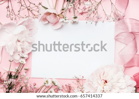 white blank card with pastel...