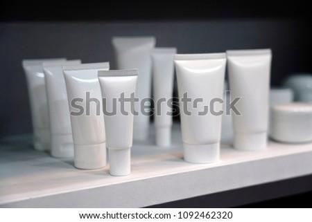 White blank cosmetic packaging. Cosmetic packaging mock up #1092462320