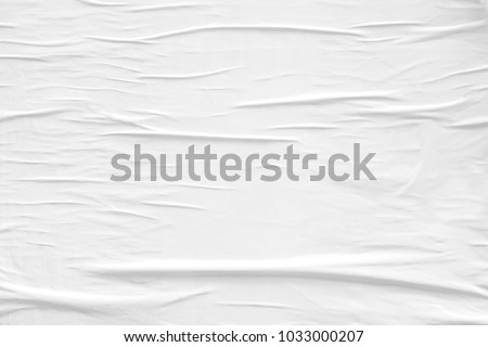 White blank crumpled paper texture background creased old poster texture placard backdrop surface empty space for text