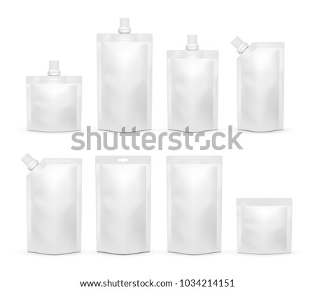White blank doypack template set. Doy-pack plastic bag or foodstuff packaging realistic mockups isolated on white background.