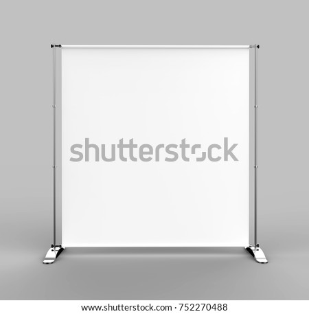 White blank empty high resolution business aluminum premium expandable Telescopic Trade Show Banner Stand display mock up Template for your Design Presentation. 3d render illustration.