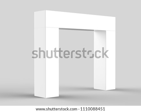 White Blank Entrance Welcome  Flex Banner Back lit Board Gate. 3d render illustration.