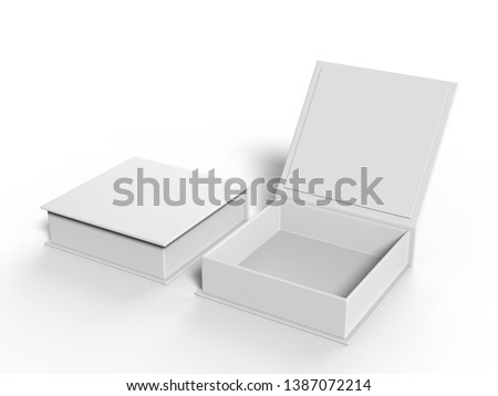 White blank hard cardboard box mock up template, 3d illustration.