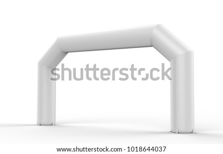 White Blank Inflatable angular Arch Tube or Event Entrance Gate. 3d render illustration.