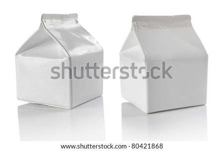 White blank milk box isolated on white