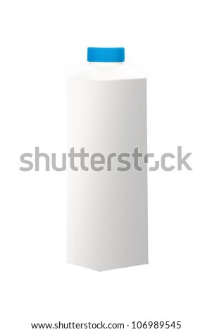 White blank milk box with clipping path
