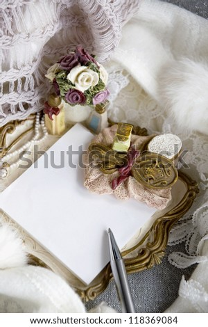 white blank note pad in romance