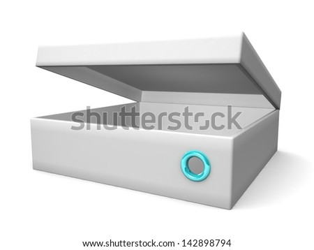 white blank open box isolated over white background