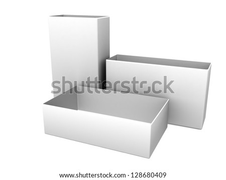 white blank open boxes isolated over white background