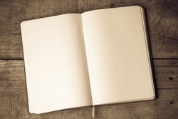 White blank pages sketch book on wood table vertical