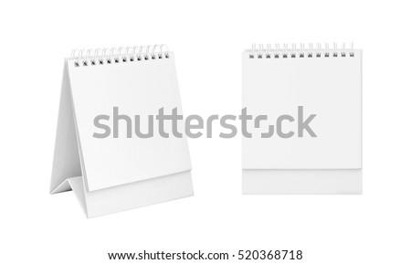 White blank paper desk spiral calendar. #520368718