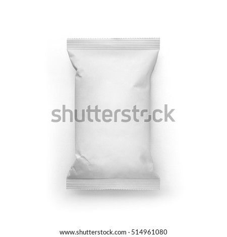 White Blank paper pillow food snack bag top view isolated on white background. Packaging template mockup collection. With clipping Path included. Chips paper package. #514961080