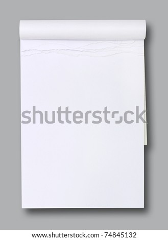 white blank paper tablet on grey background