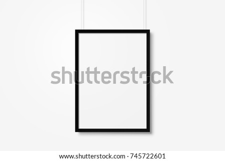 White blank photo frame mockup with ropes isolated over white background #745722601