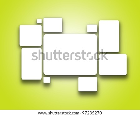 White blank pictures on the wall, 3d render