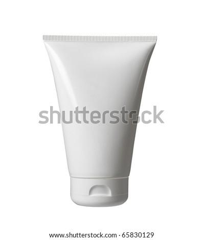 white blank plastic bottle isolated on white