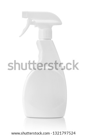White blank plastic spray bottle isolated on white background with clipping path. Packaging mockup. #1321797524