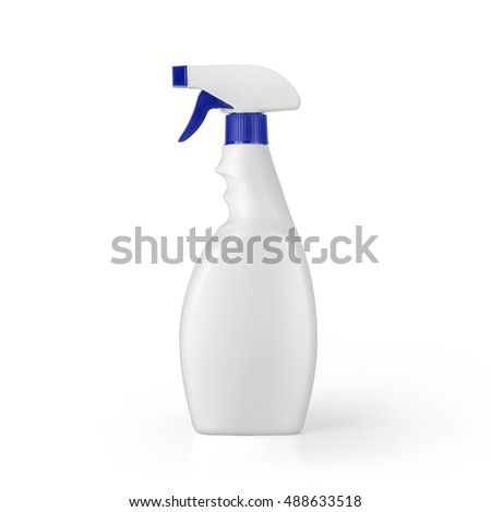 White blank plastic spray detergent bottle isolated on white background. Packaging template mockup collection. With clipping Path included. #488633518