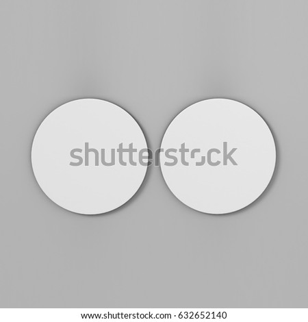 White Blank Round Coaster Isolated on grey Background for design template and mock up. 3d render illustration #632652140