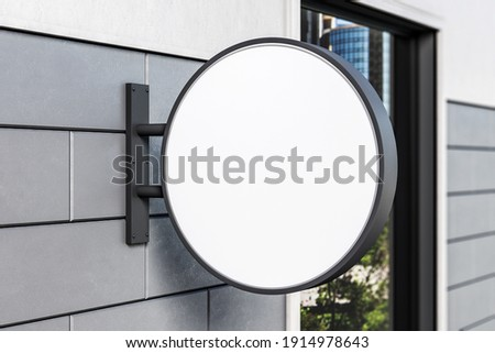 White blank round signboard on abstract wall. Exhibition and advertising concept. Mock up. 3D Rendering Сток-фото ©
