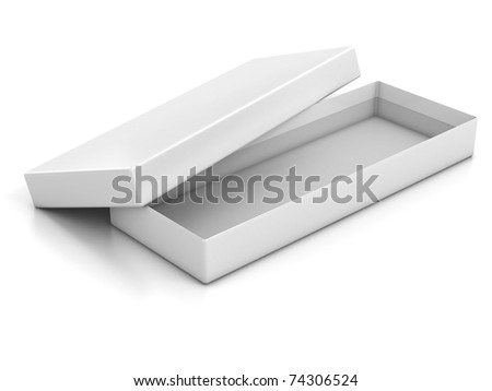 white blank shallow open box isolated over white background