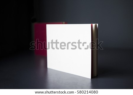 White Blank Square Book Cover on black background #580214080