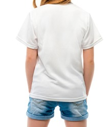 white blank t-shirt for your logo on white background, back view